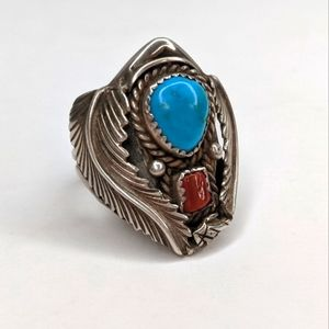 Vintage Navajo Sterling, Turquoise & Coral Ring